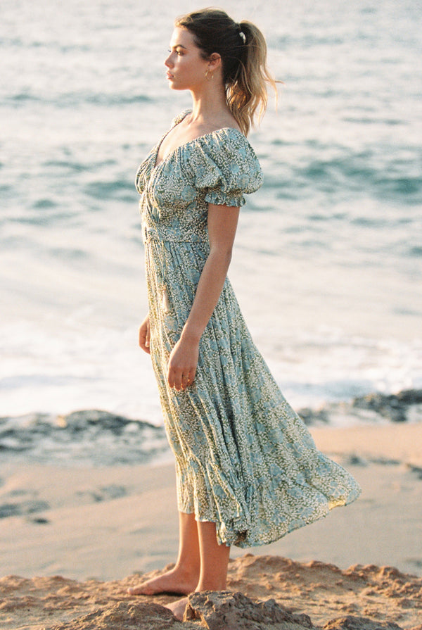 Marion Peasant Midi Dress in Kaya Floral