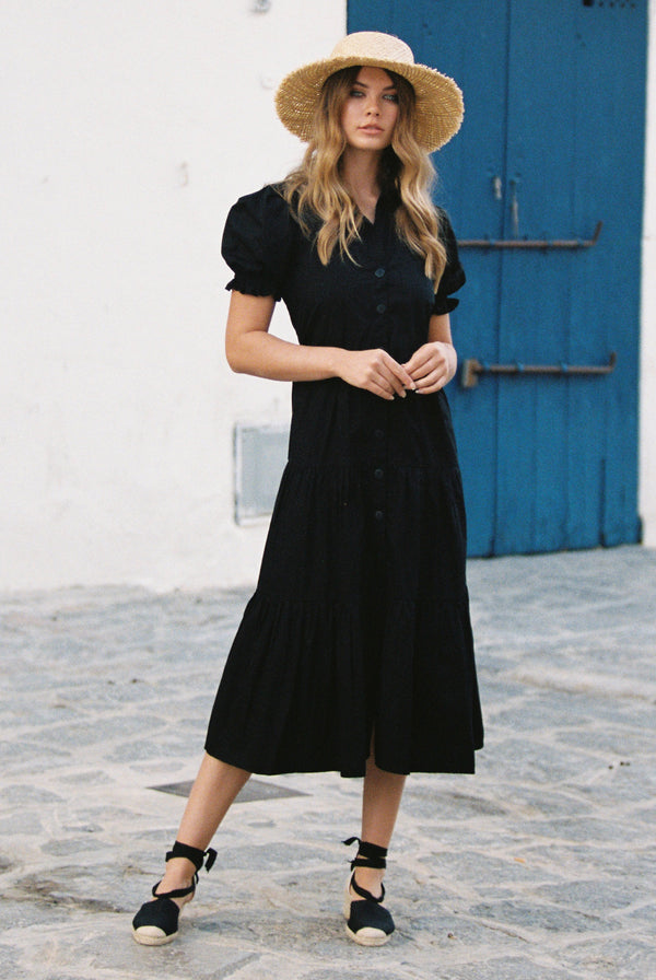 Blanca Puff Sleeved Midi Shirtdress in Solid Black Poplin