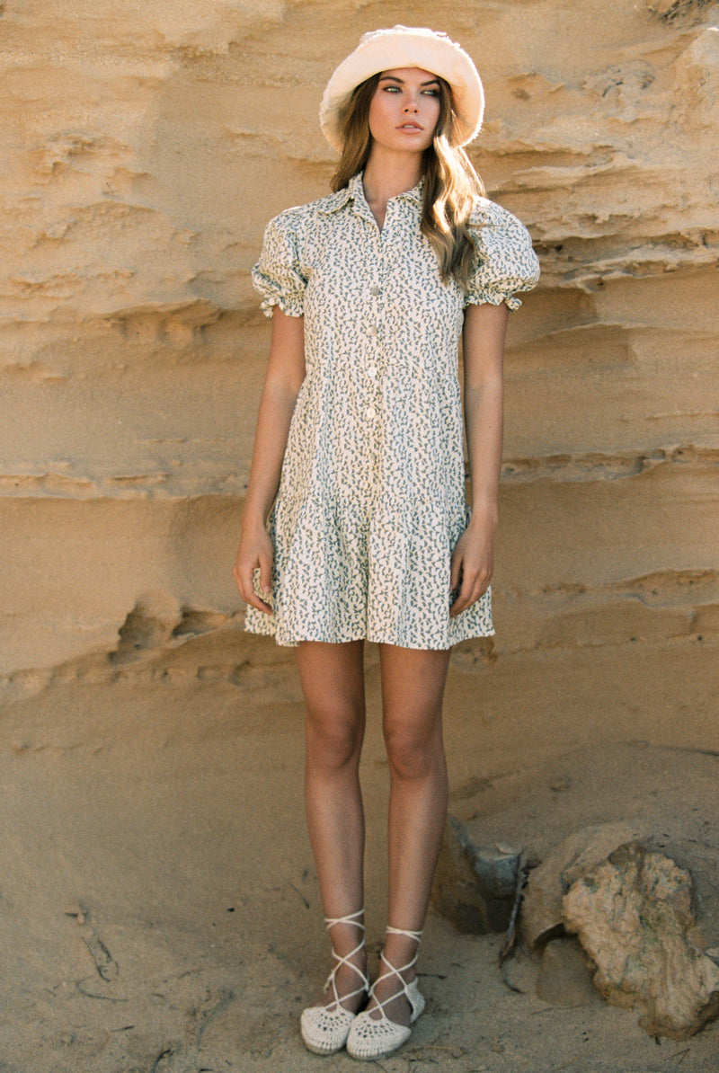 Grace Puff Sleeved Mini Shirtdress in Fields Poplin