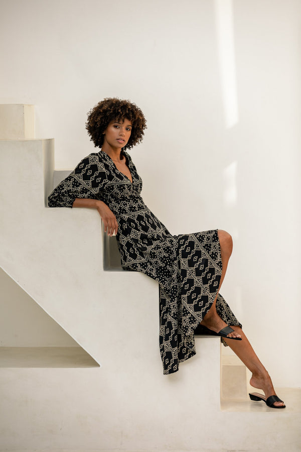 Elora Wrap Maxi Dress - Ebony Khan