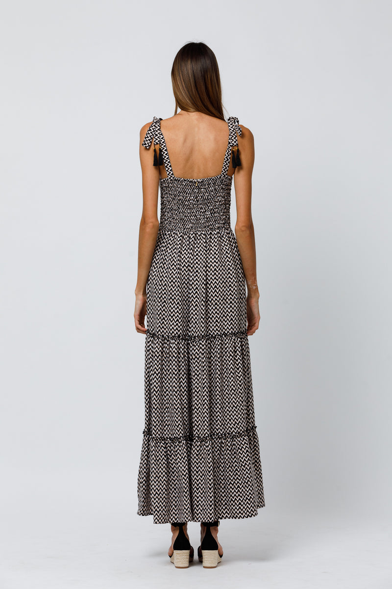 Alba Tiered Maxi Dress in Shade Abstract