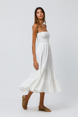 Rita Strapless Shirred Midi Dress in Off White Cotton Gauze