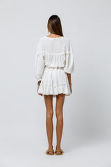 Chilli Mini Dress in Off White Cotton Gauze