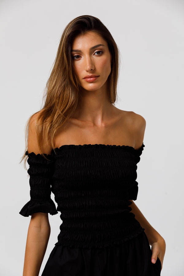 Cora Off Shoulder Shirred Top in Solid Black Poplin