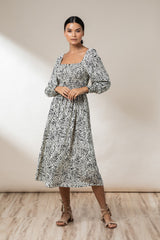 Elyse Shirred Maxi Dress - Ink Haze - Beachgold
