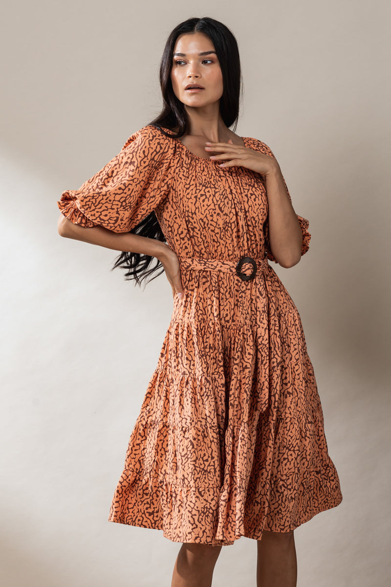 Nina Belted Midi Dress - Ginger Haze