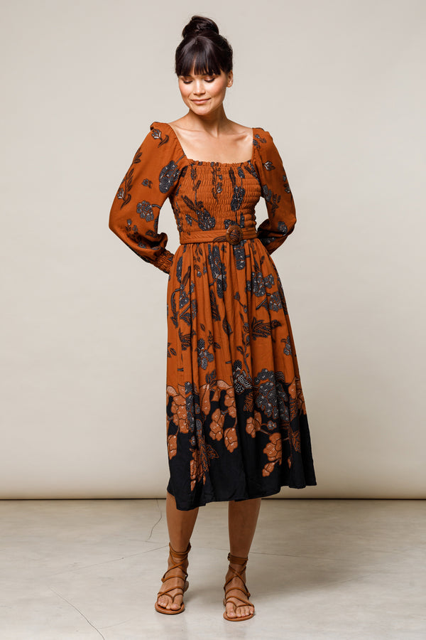 Elyse Belted Maxi Dress - Batik