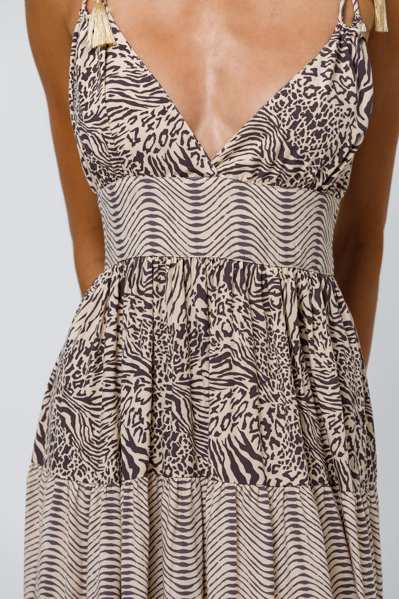 Lenny Contrast Tiered Maxi Dress in Patch Animal