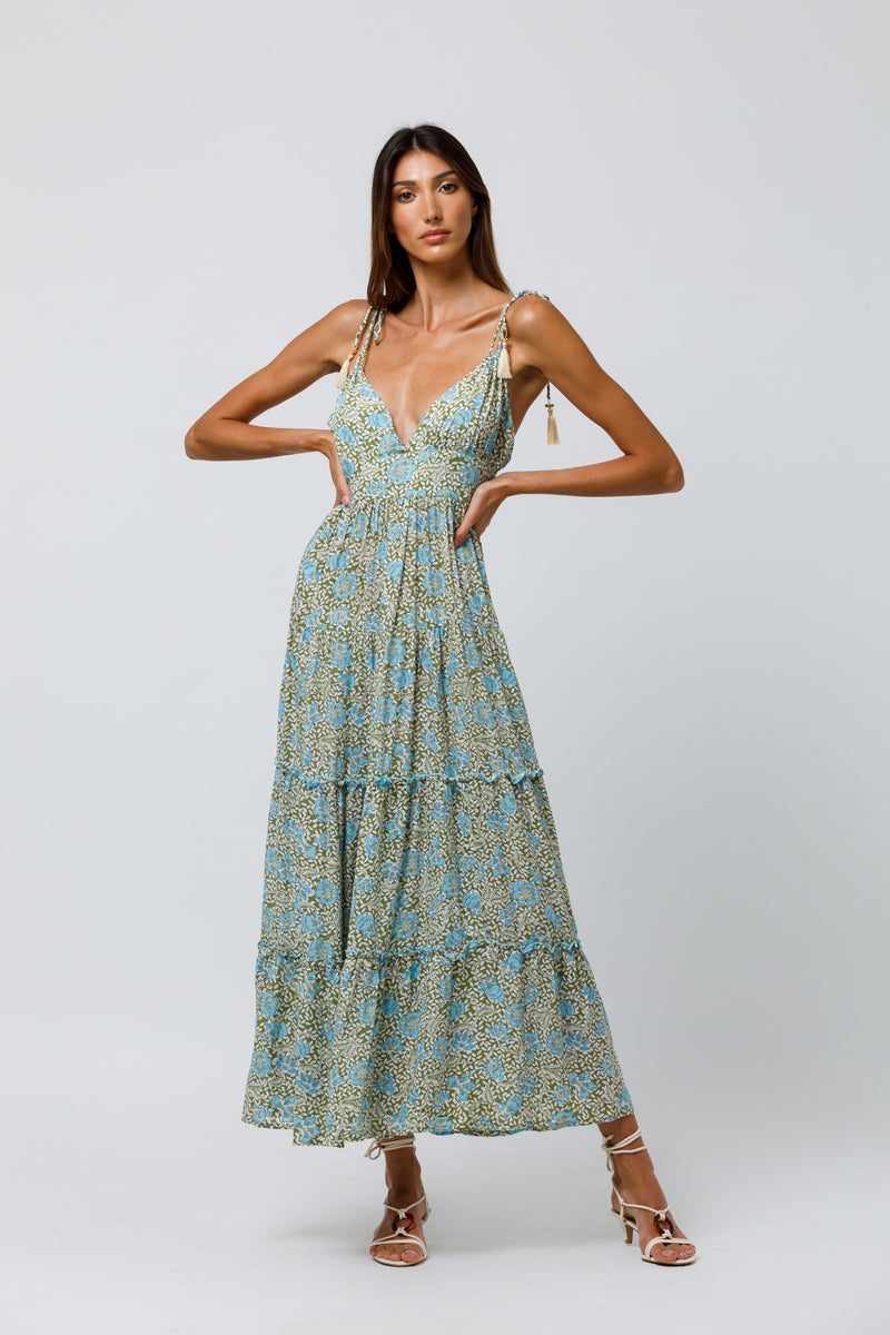 Lenny Tiered Maxi Dress in Kaya Floral
