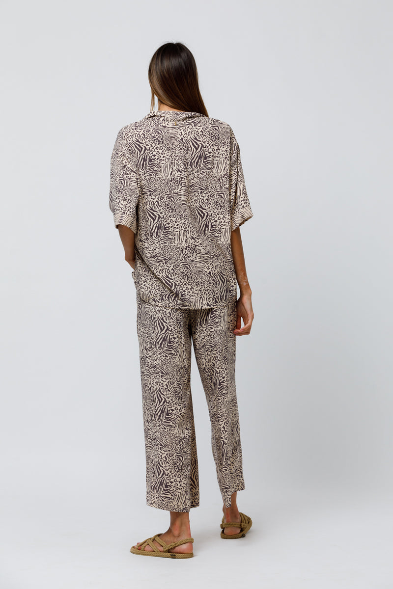 Piper Wide Leg Pant in Patch Animal