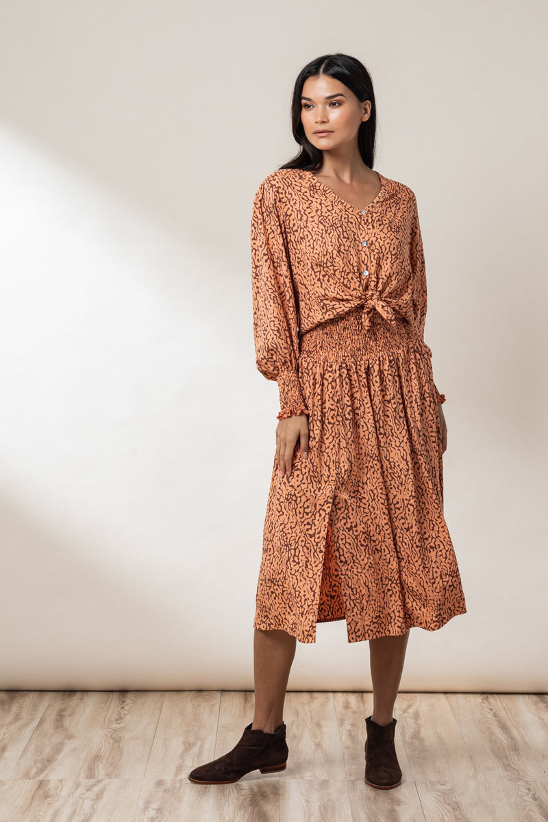 Reece Shirred Midi Skirt - Ginger Haze