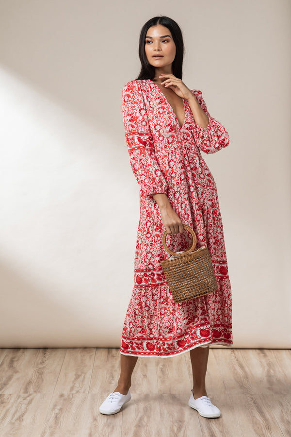 Sadie Tiered Maxi Dress - Chilli Mawar - Beachgold