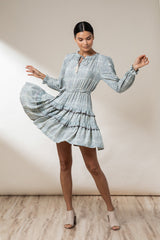 Sandy Peasant Mini Dress - Granite Kerala - Beachgold