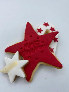 Merry Christmas Vanilla Cookie Gift Bag - Star Red
