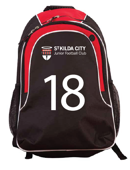 St Kilda City JFC Back Pack - with personalised jumper numbers