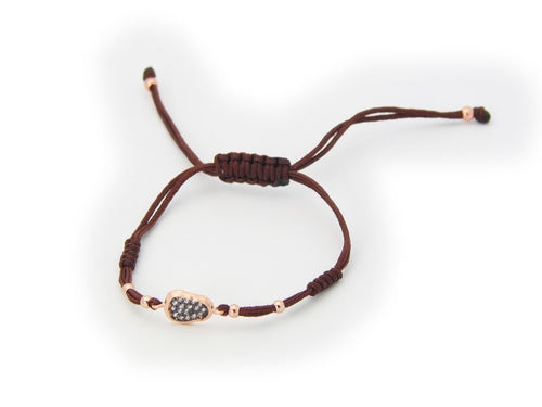 Brown Cord Oval Cz Silver Gold Plated Bracelet