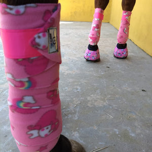 Polo Bandages / Wraps - Pink Ponies Set