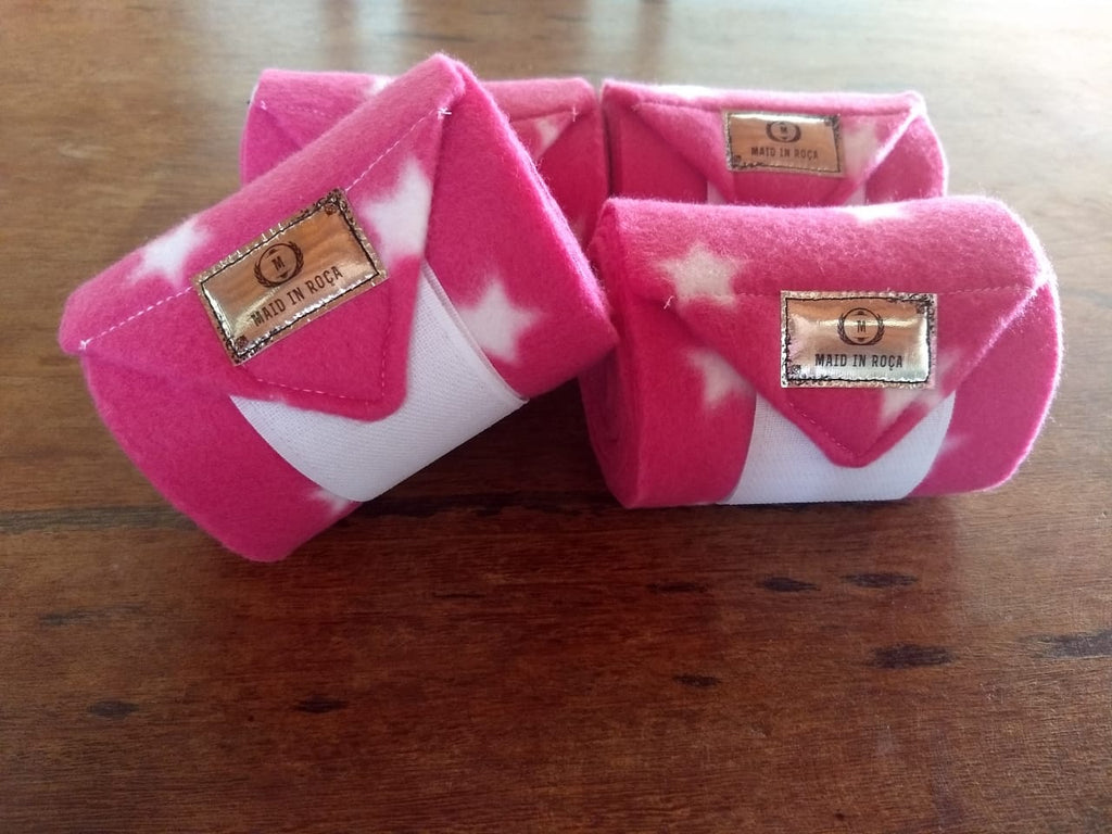 Polo Bandages / Wraps - Pink star Set