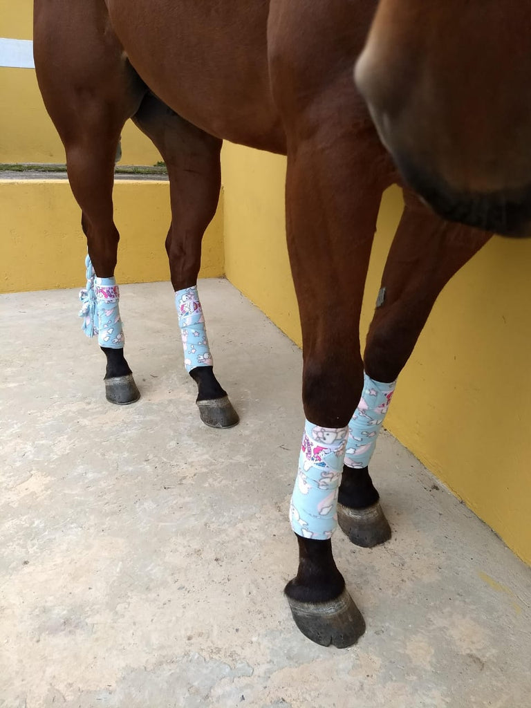 Polo Bandages / Wraps - Blue Ponies Set