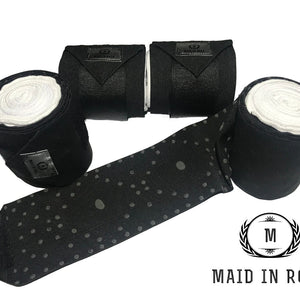 Elastic Polo Bandages / Wraps - Black set