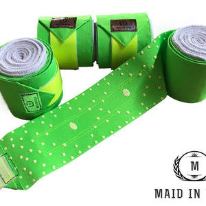 Elastic Polo Bandages / Wraps - Lime Green set