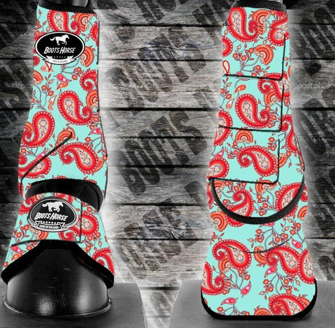 Bell Boots (no turn) - Red Paisley (New)