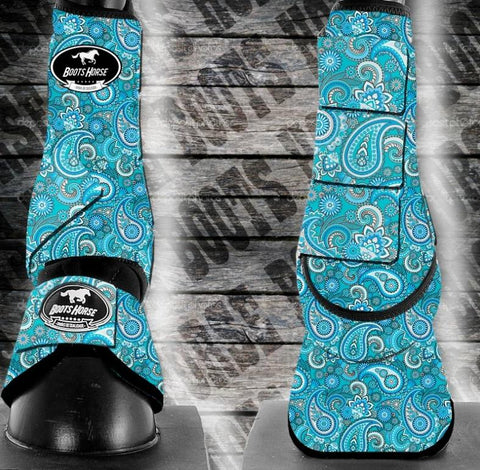 Bell Boots (no turn) - Blue Paisley (New)