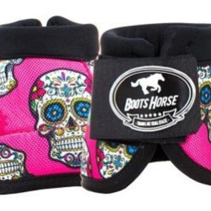 Bell Boots (no turn) - Pink Skulls