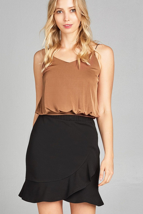 Ladies fashion v-neck elastic hem cami top at Clotheschica.com