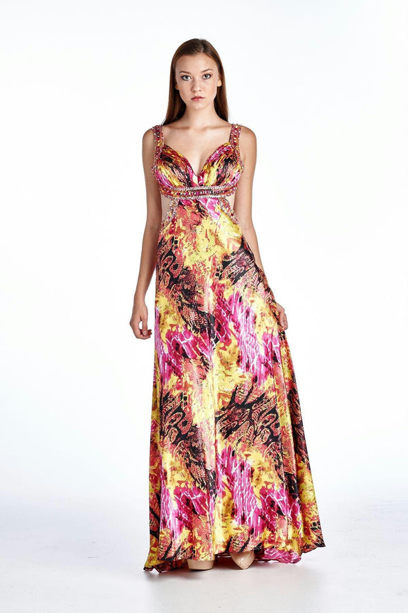 Women's Printed Satine Applique Gown