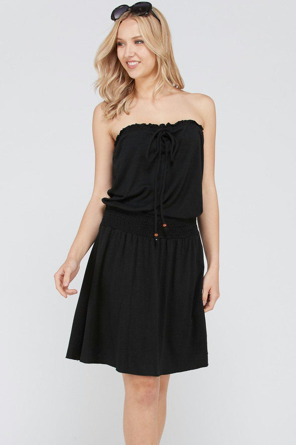 Women's Smock Strapless Dress with Elastic Waistband and Decorative Ties