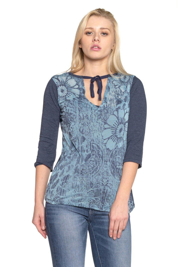 Women's Printed Tie-Neck Top with Solid Under Tank