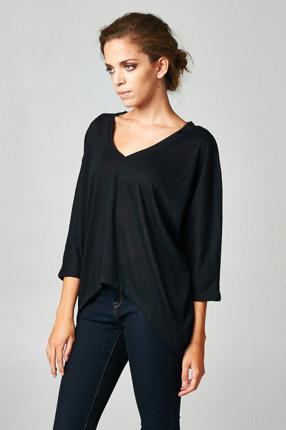 Women's Long Sleeve Jersey V-Neck Top