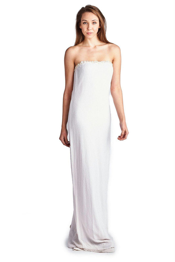 Women's Strapless Pearl Detail Evening Gown