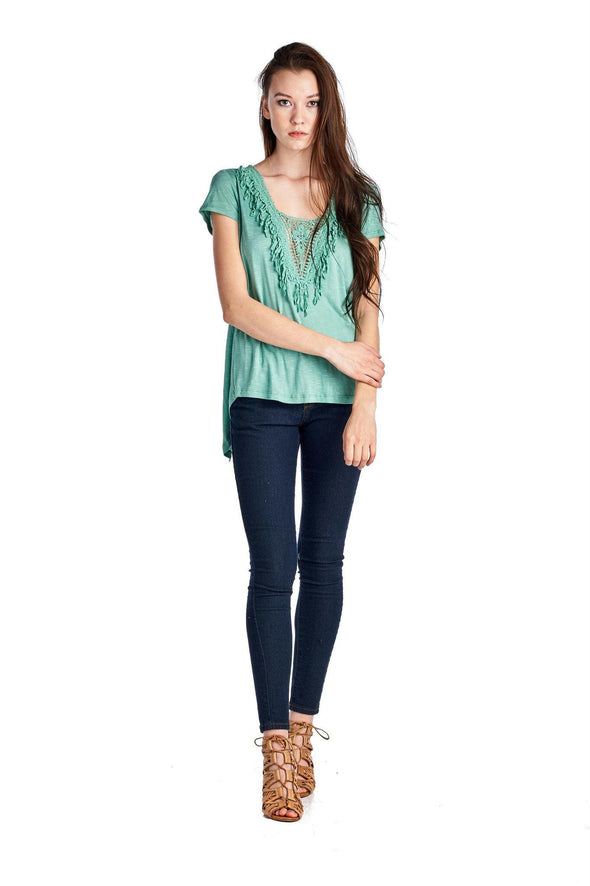 Women's Teal Crochet Accent Split Back Top