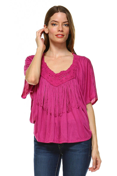Women's Fuchsia Tassel Top