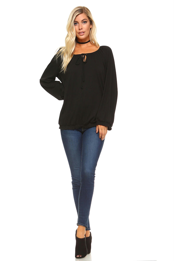 Women's Long Sleeve Solid Peasant Top