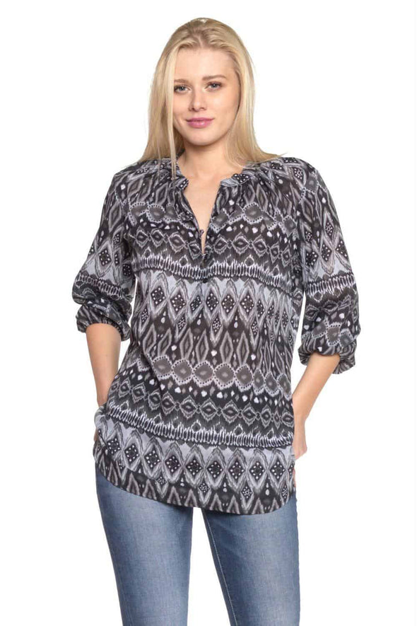 Women's 3/4 Three Quarter Sleeve Button Front Top