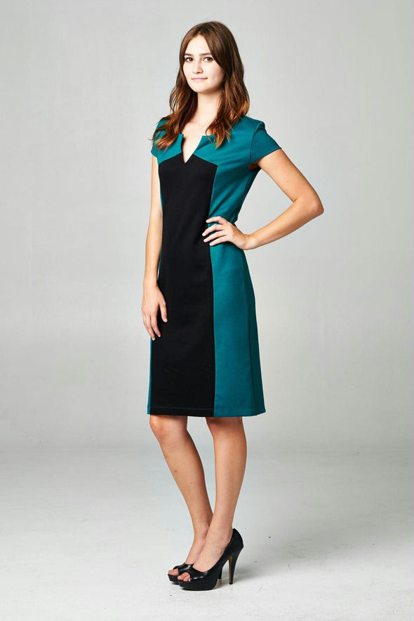 Women's Colorblock Ponte V-Neck Dress
