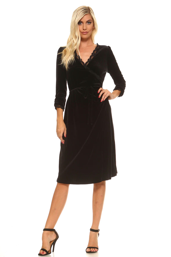 Women's Velvet Scallop Lace Trim Wrap Dress