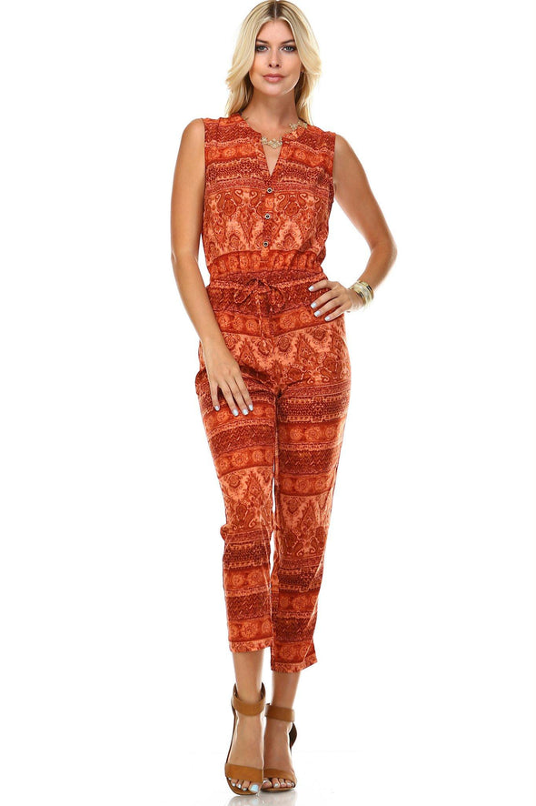 Women's Printed Button Up Sleeveless Jumpsuit