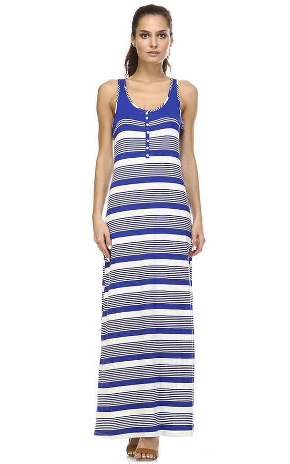 Women's Variegated Stripe Maxi Tank Dress