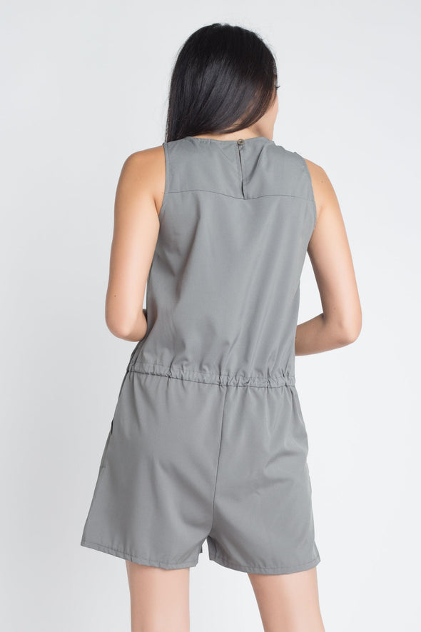 Women's Zip Front Sleeveless Romper