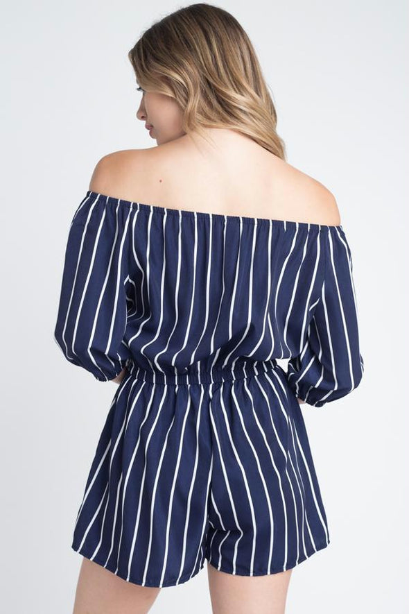 Women's Off Shoulder Stripe Romper