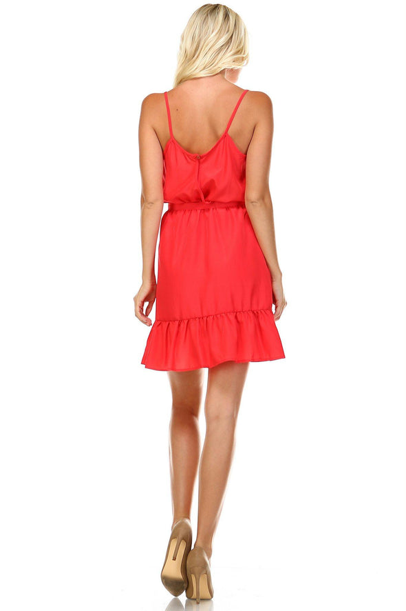 Women's Ruffle Detail Sleeveless Midi Dress