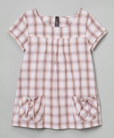 Girls Pink Plaid Dress at Clotheschica.com