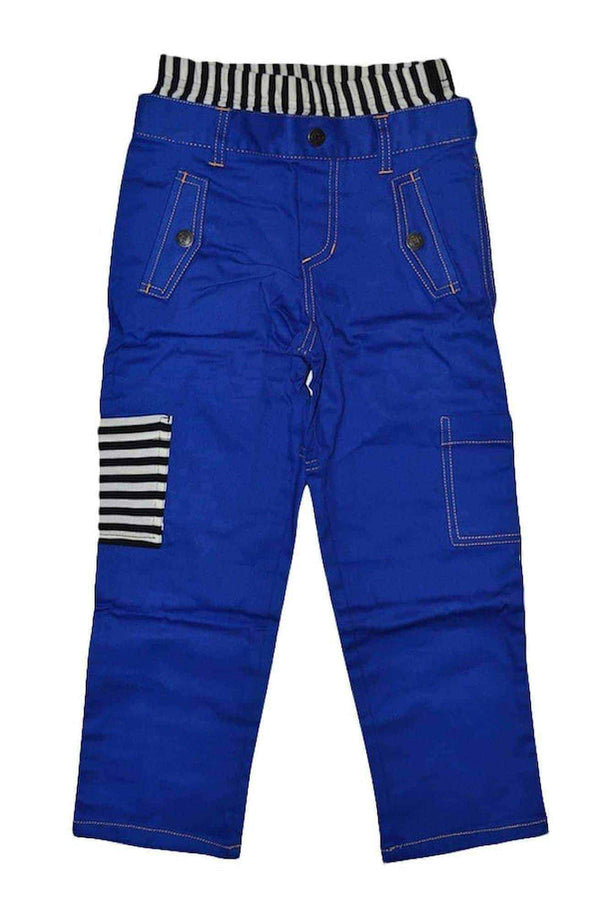 Boys Blue Pants with Black/White Stripe WB & Pocket Detail at Clotheschica.com