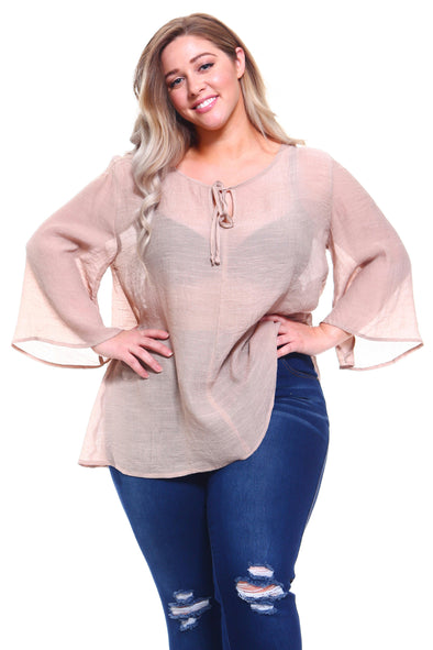 Women's Plus Size Bell Sleeve Front Tie Crochet Top