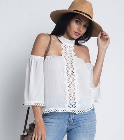 Women's High Neck Long Sleeve Crochet Top