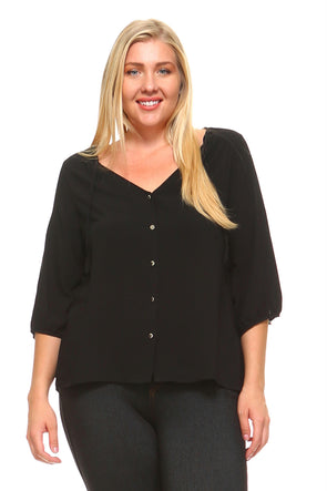 Women's Plus Size 3/4 Three Quarter Button Down Blouse
